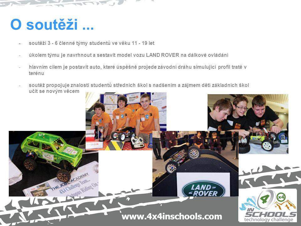 www.4x4inschools.com O soutěži... -soutěží 3 - 6 členné týmy studentů ve věku 11 - 19 let -úkolem týmu je navrhnout a sestavit model vozu LAND ROVER n