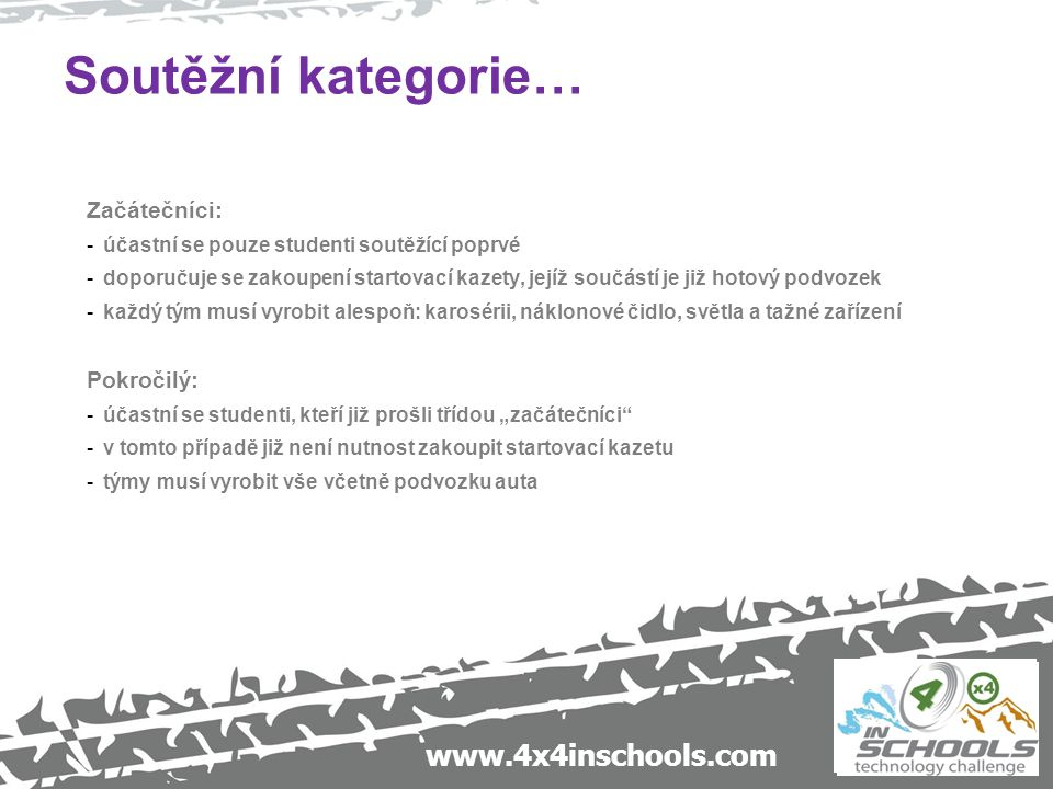 www.4x4inschools.com Soutěžní kategorie… Začátečníci: -účastní se pouze studenti soutěžící poprvé -doporučuje se zakoupení startovací kazety, jejíž so