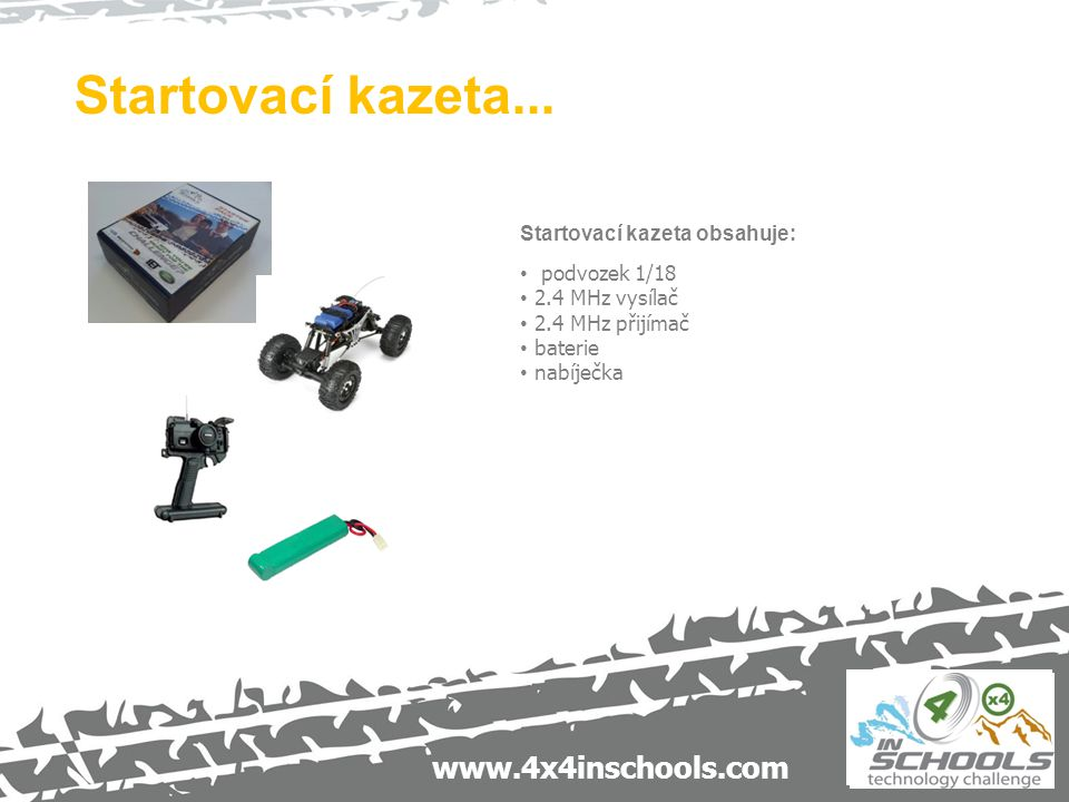 www.4x4inschools.com Startovací kazeta obsahuje: podvozek 1/18 2.4 MHz vysílač 2.4 MHz přijímač baterie nabíječka Startovací kazeta...