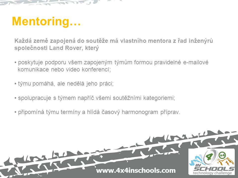 www.4x4inschools.com Mentoring… Každá země zapojená do soutěže má vlastního mentora z řad inženýrů společnosti Land Rover, který poskytuje podporu vše