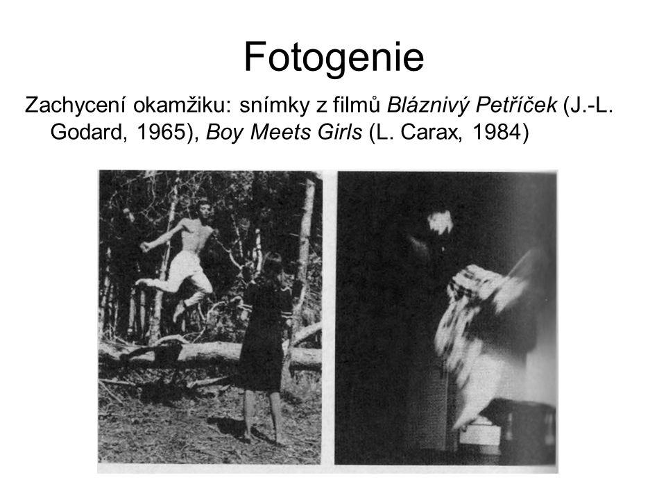Fotogenie Zachycení okamžiku: snímky z filmů Bláznivý Petříček (J.-L. Godard, 1965), Boy Meets Girls (L. Carax, 1984)