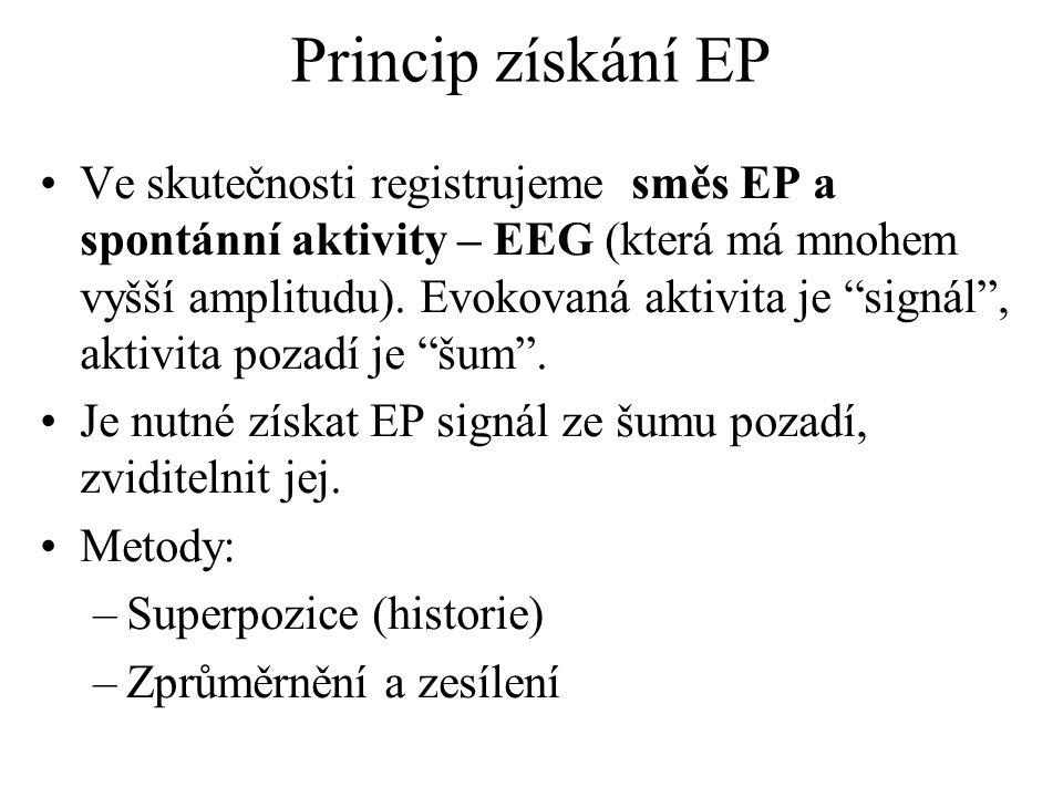 Rozdělení EP podle druhu podnětu: sluchové střednělatentní – dřív, k objektivní audiometrii, velká variabilita kmenové, BAEP, krátkolatentní, do 10 ms, vznikají v n.VIII a ve kmeni