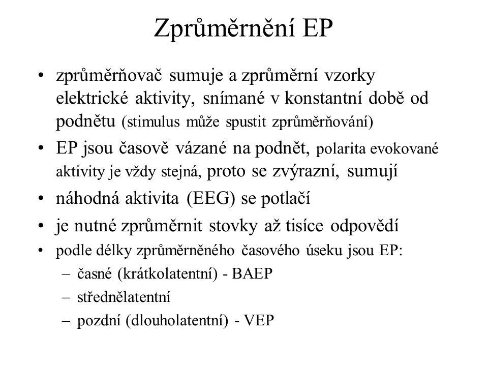 Normální VEP Normální VEP mívá 3 vrcholy: –první je negativní, má latenci kolem 75 ms –nejvýraznější a stálá vlna je pozitivní, s latencí kolem 100 ms –další negativní vrchol má latenci kolem 145 ms