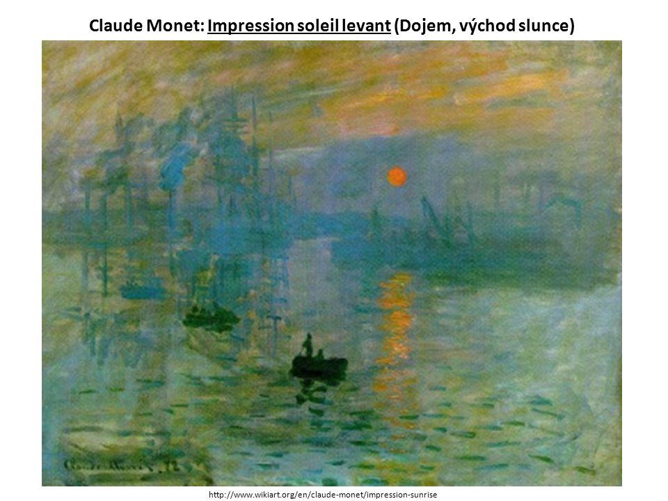 Claude Monet: Impression soleil levant (Dojem, východ slunce) http://www.wikiart.org/en/claude-monet/impression-sunrise