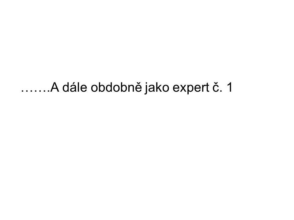 …….A dále obdobně jako expert č. 1