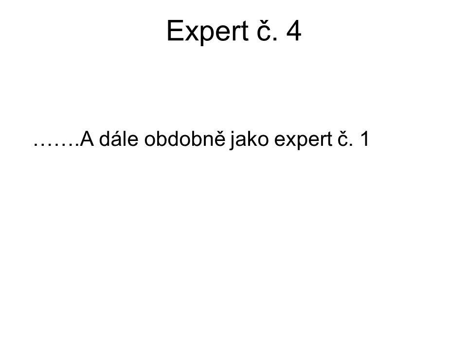 Expert č. 4 …….A dále obdobně jako expert č. 1