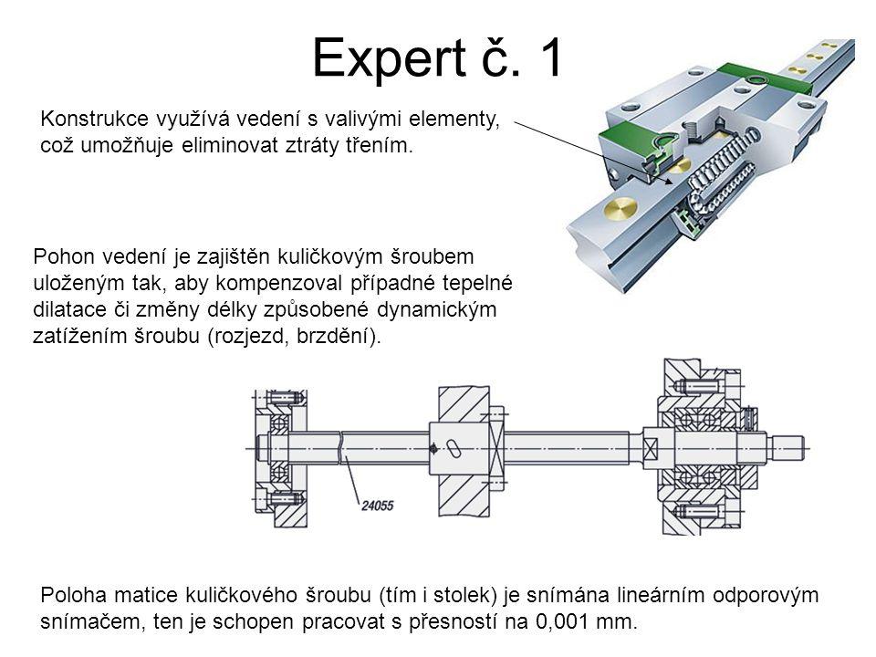Expert č. 1 Konstrukce využívá vedení s valivými elementy, což umožňuje eliminovat ztráty třením.