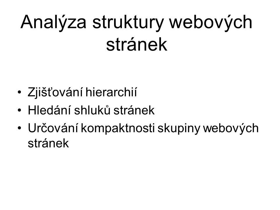 Analýza struktury webových stránek Zjišťování hierarchií Hledání shluků stránek Určování kompaktnosti skupiny webových stránek