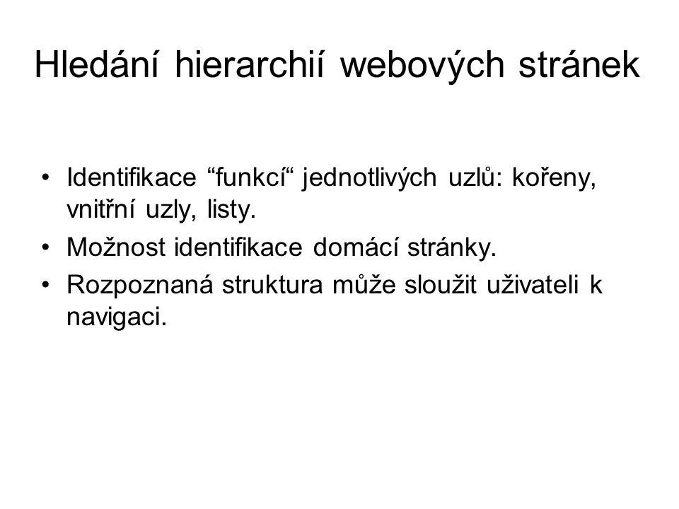 """Hledání hierarchií webových stránek Identifikace """"funkcí"""" jednotlivých uzlů: kořeny, vnitřní uzly, listy. Možnost identifikace domácí stránky. Rozpozn"""