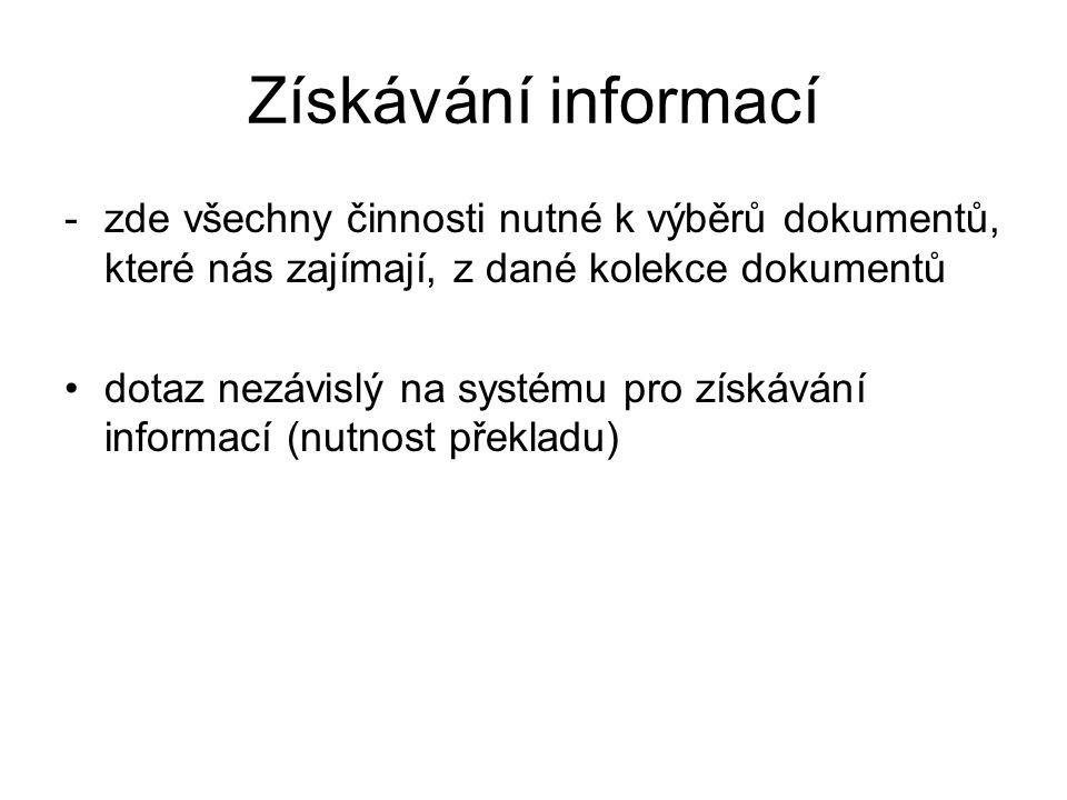 Získávání informací -zde všechny činnosti nutné k výběrů dokumentů, které nás zajímají, z dané kolekce dokumentů dotaz nezávislý na systému pro získáv