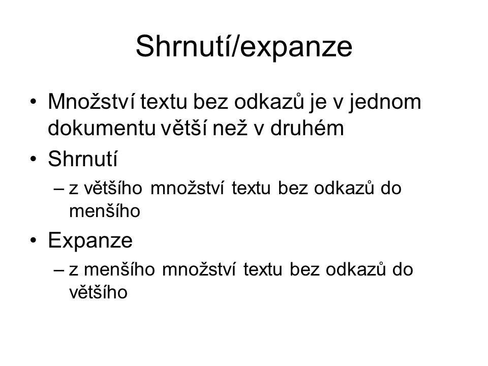 Shrnutí/expanze Množství textu bez odkazů je v jednom dokumentu větší než v druhém Shrnutí –z většího množství textu bez odkazů do menšího Expanze –z