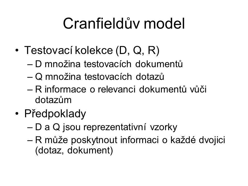 Cranfieldův model Testovací kolekce (D, Q, R) –D množina testovacích dokumentů –Q množina testovacích dotazů –R informace o relevanci dokumentů vůči d