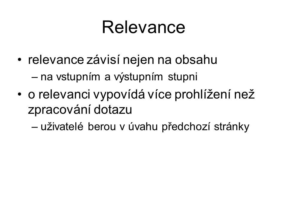 Relevance relevance závisí nejen na obsahu –na vstupním a výstupním stupni o relevanci vypovídá více prohlížení než zpracování dotazu –uživatelé berou