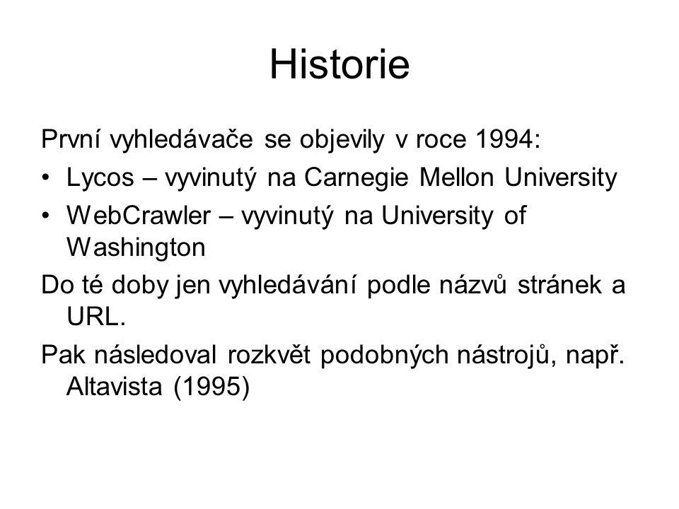 Historie První vyhledávače se objevily v roce 1994: Lycos – vyvinutý na Carnegie Mellon University WebCrawler – vyvinutý na University of Washington D