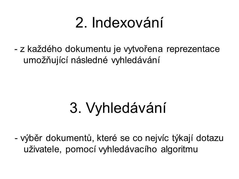 2. Indexování - z každého dokumentu je vytvořena reprezentace umožňující následné vyhledávání 3. Vyhledávání - výběr dokumentů, které se co nejvíc týk