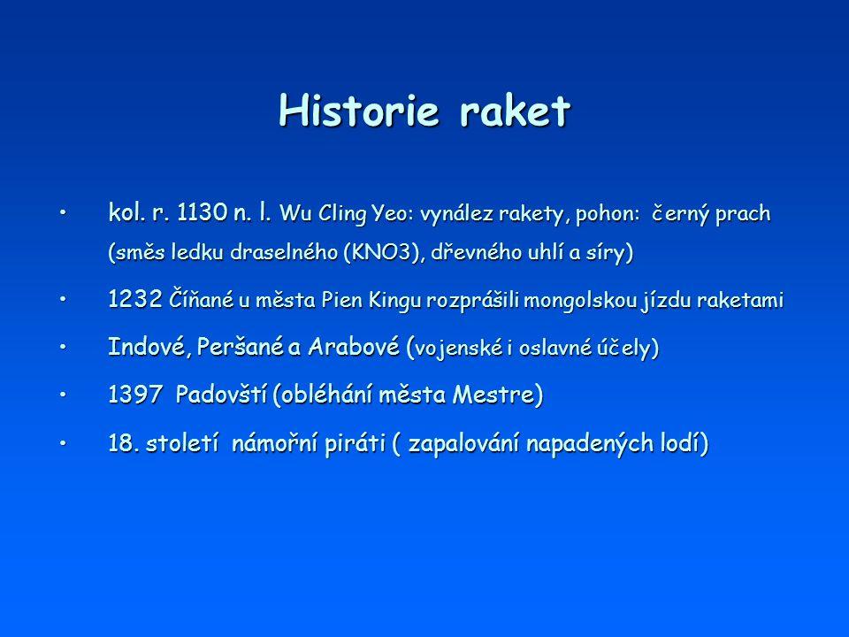 Historie raket kol. r. 1130 n. l. Wu Cling Yeo: vynález rakety, pohon: černý prach (směs ledku draselného (KNO3), dřevného uhlí a síry)kol. r. 1130 n.