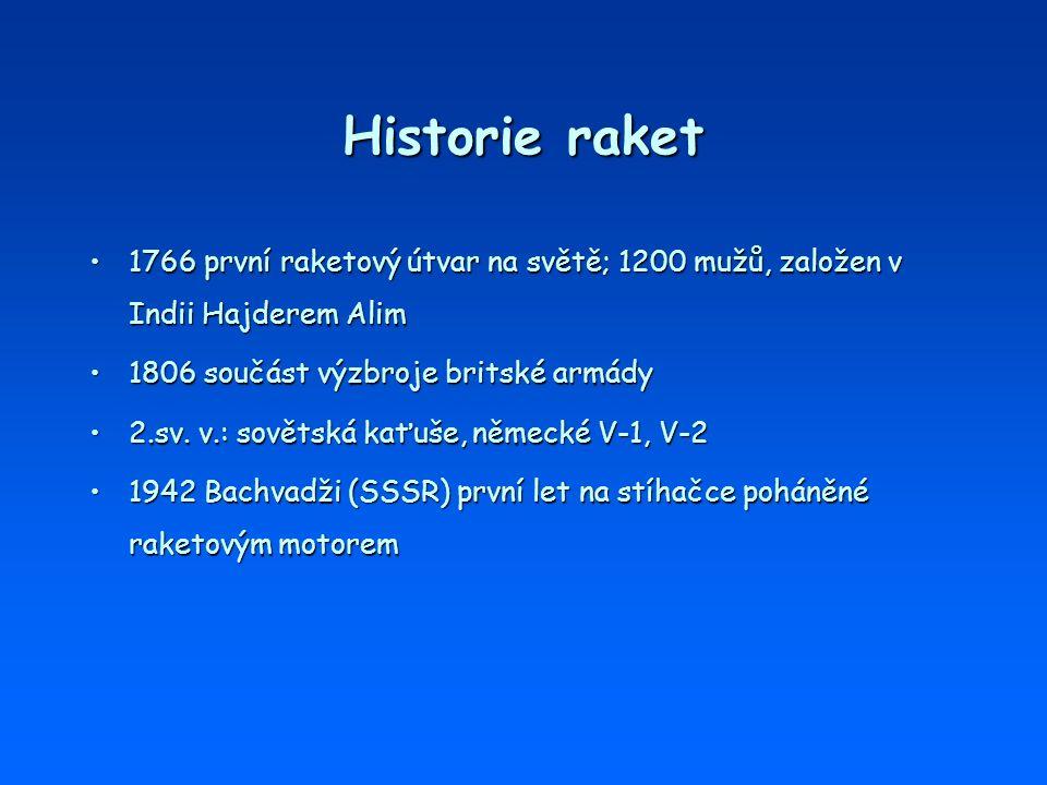 Historie raket 1766 první raketový útvar na světě; 1200 mužů, založen v Indii Hajderem Alim1766 první raketový útvar na světě; 1200 mužů, založen v In