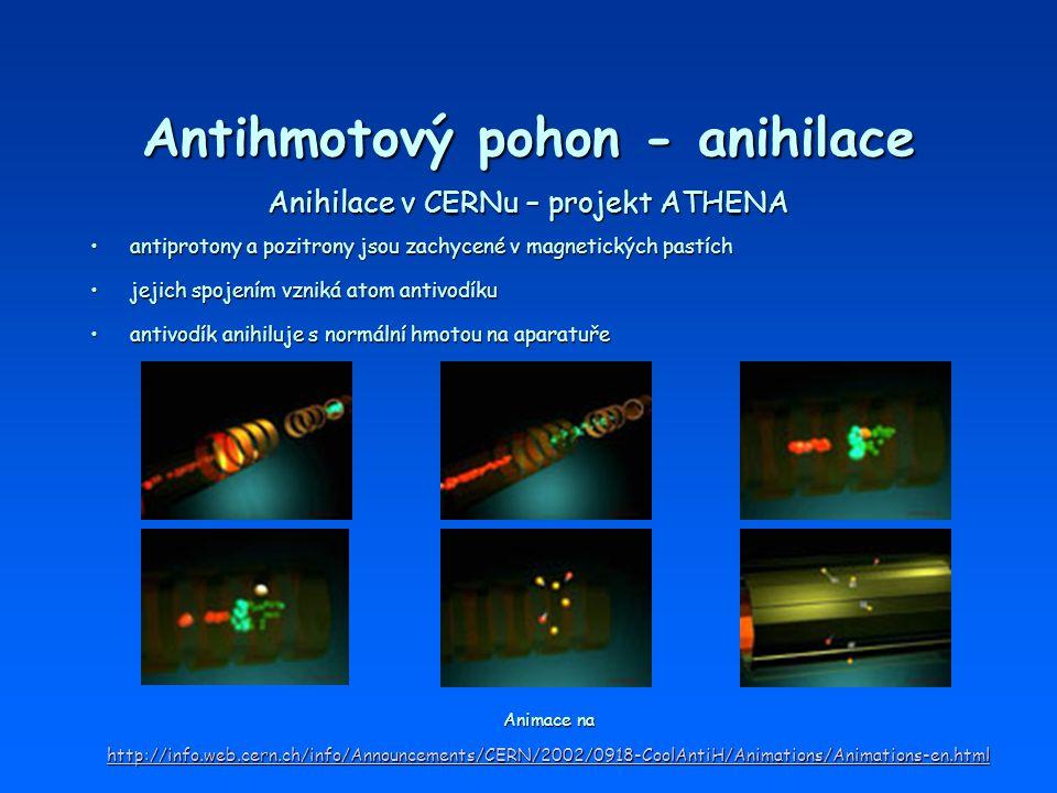 Antihmotový pohon - anihilace Anihilace v CERNu – projekt ATHENA Animace na Animace na http://info.web.cern.ch/info/Announcements/CERN/2002/0918-CoolA
