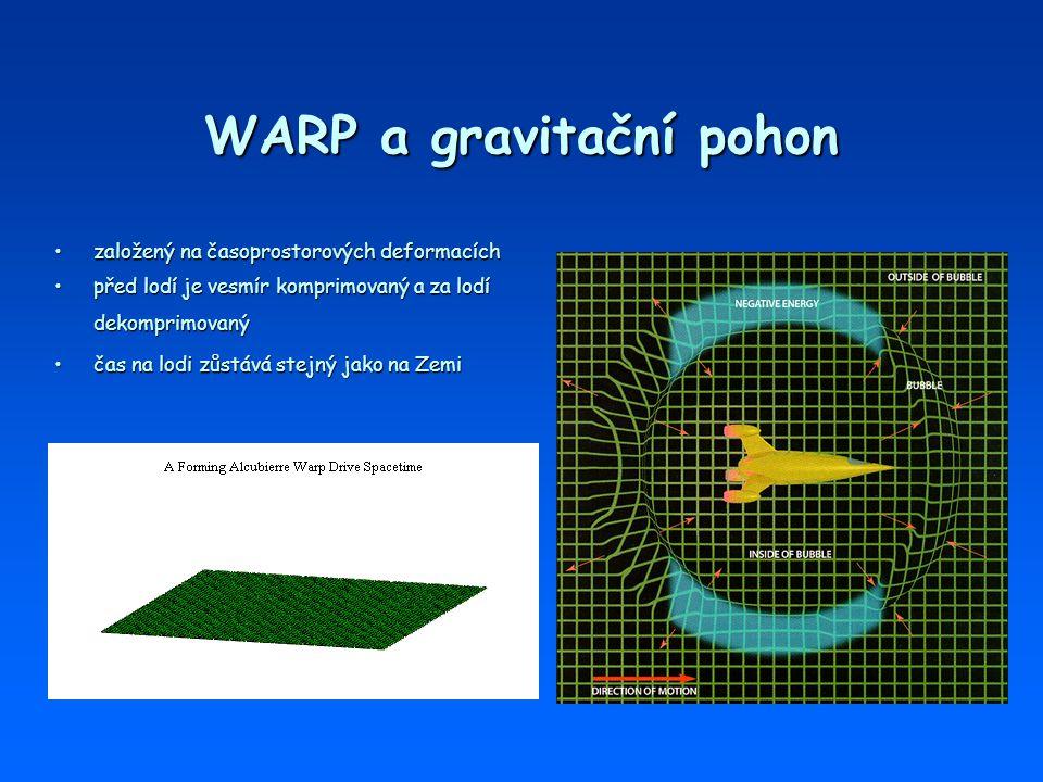 WARP a gravitační pohon založený na časoprostorových deformacíchzaložený na časoprostorových deformacích před lodí je vesmír komprimovaný a za lodí de