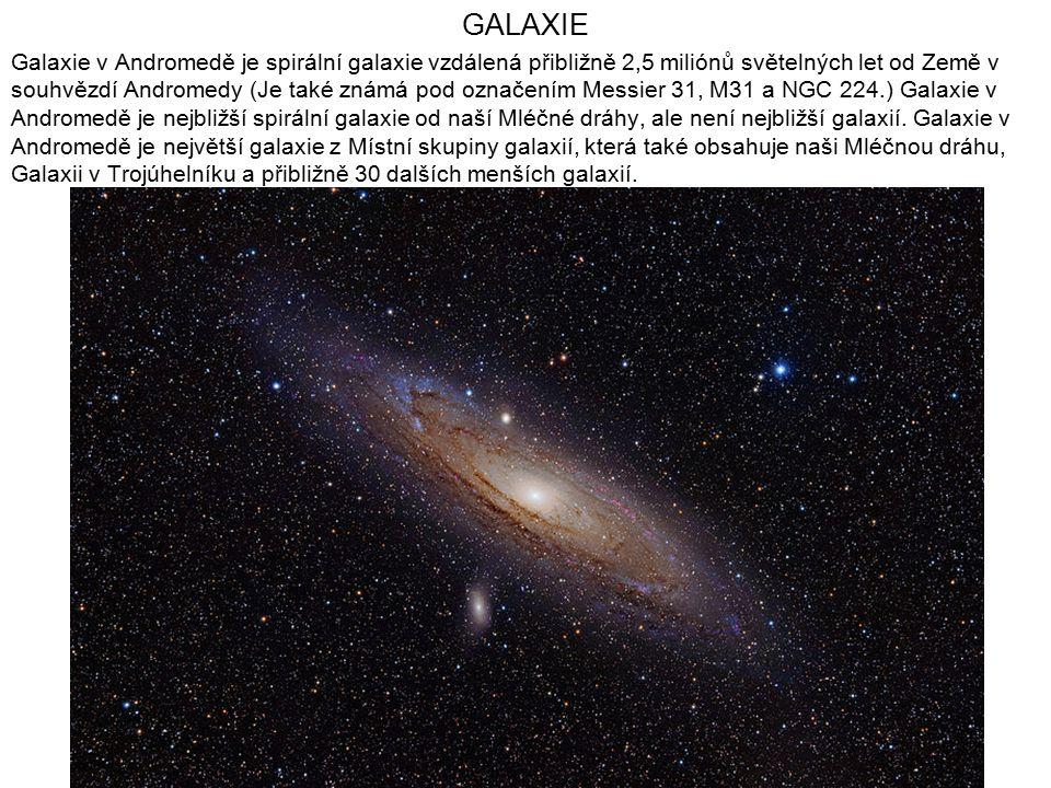GALAXIE Galaxie v Andromedě je spirální galaxie vzdálená přibližně 2,5 miliónů světelných let od Země v souhvězdí Andromedy (Je také známá pod označen