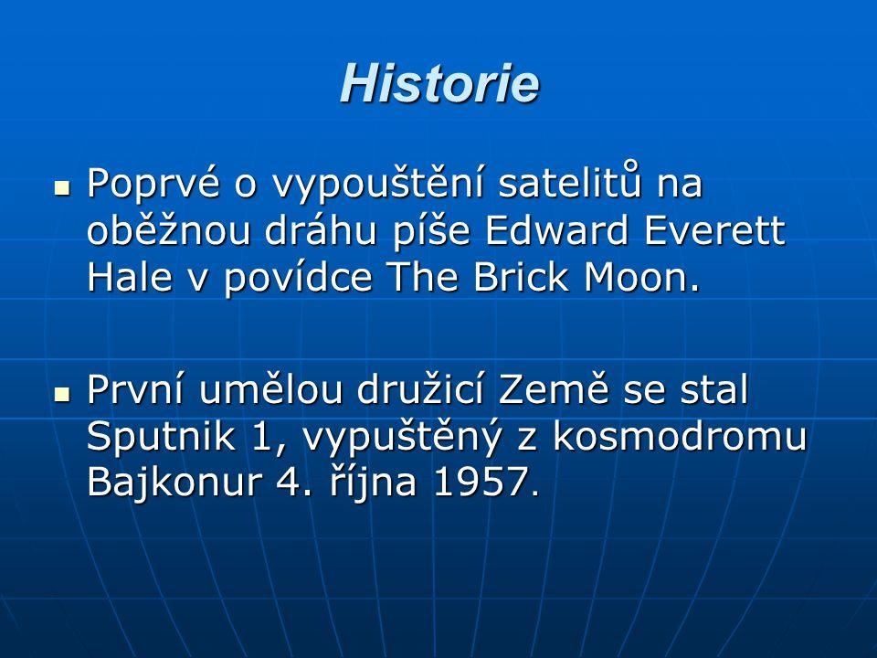 Historie Poprvé o vypouštění satelitů na oběžnou dráhu píše Edward Everett Hale v povídce The Brick Moon. Poprvé o vypouštění satelitů na oběžnou dráh