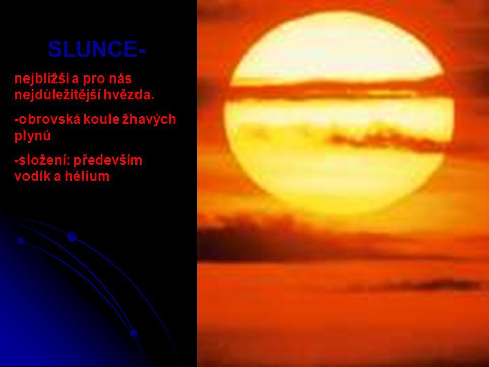 SLUNCE- nejbližší a pro nás nejdůležitější hvězda. -obrovská koule žhavých plynů -složení: především vodík a hélium