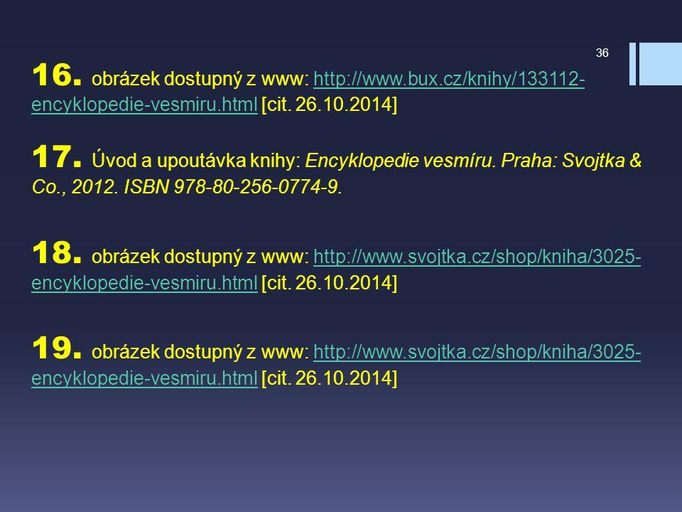 16. obrázek dostupný z www: http://www.bux.cz/knihy/133112- encyklopedie-vesmiru.html [cit. 26.10.2014] 17. Úvod a upoutávka knihy: Encyklopedie vesmí