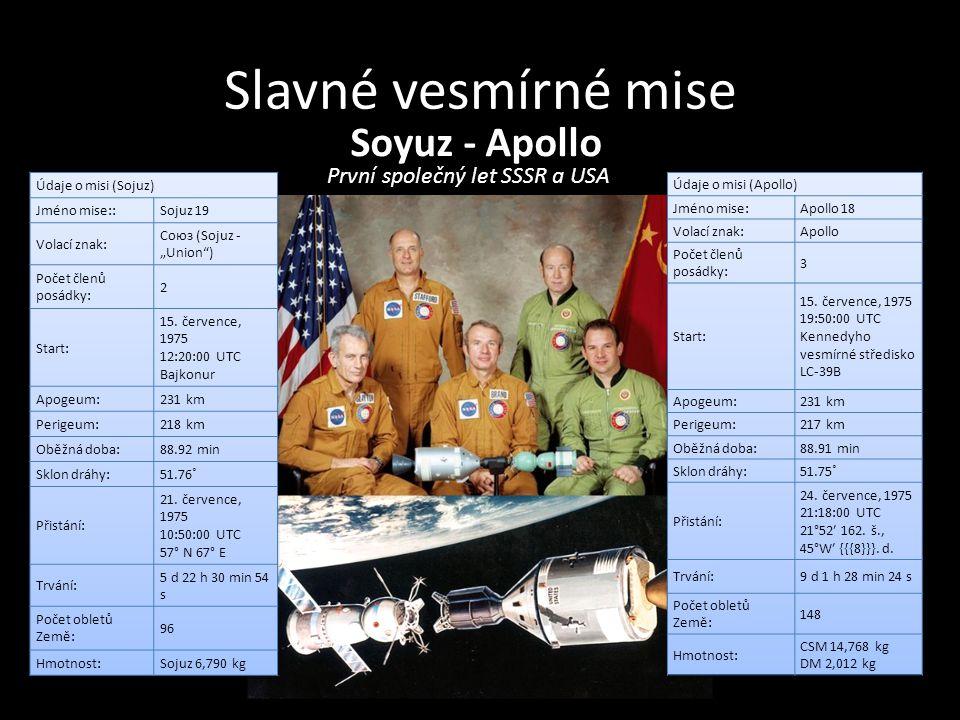 Slavné vesmírné mise Soyuz - Apollo První společný let SSSR a USA