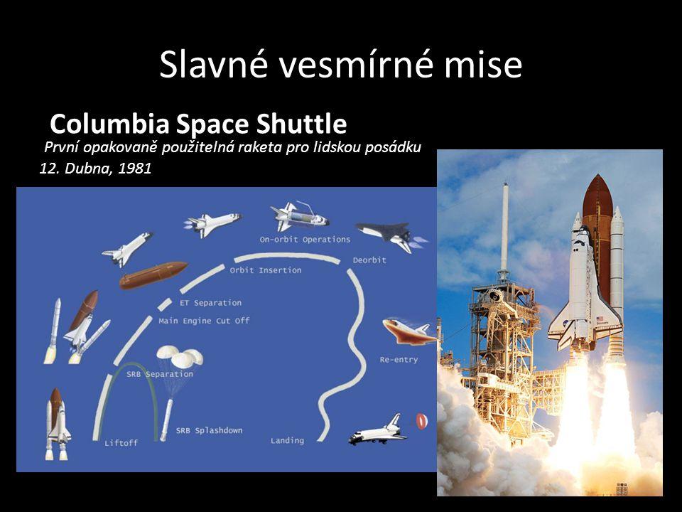 Slavné vesmírné mise Columbia Space Shuttle První opakovaně použitelná raketa pro lidskou posádku 12. Dubna, 1981