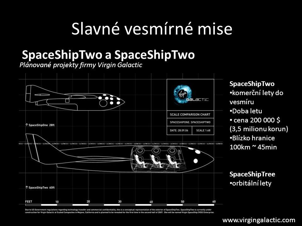 SpaceShipTwo a SpaceShipTwo Plánované projekty firmy Virgin Galactic Slavné vesmírné mise SpaceShipTwo komerční lety do vesmíru Doba letu cena 200 000