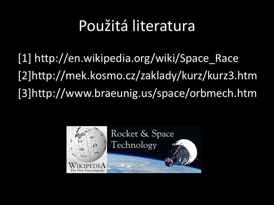 Použitá literatura [1] http://en.wikipedia.org/wiki/Space_Race [2]http://mek.kosmo.cz/zaklady/kurz/kurz3.htm [3]http://www.braeunig.us/space/orbmech.h