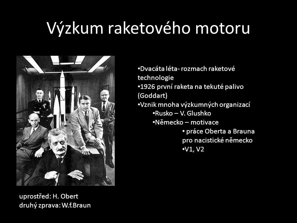 Výzkum raketového motoru Dvacáta léta- rozmach raketové technologie 1926 první raketa na tekuté palivo (Goddart) Vznik mnoha výzkumných organizací Rus