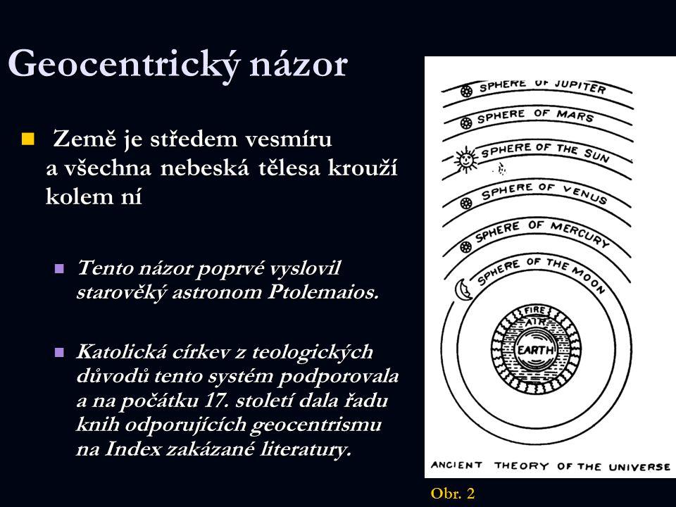 Geocentrický názor Země je středem vesmíru a všechna nebeská tělesa krouží kolem ní Země je středem vesmíru a všechna nebeská tělesa krouží kolem ní T