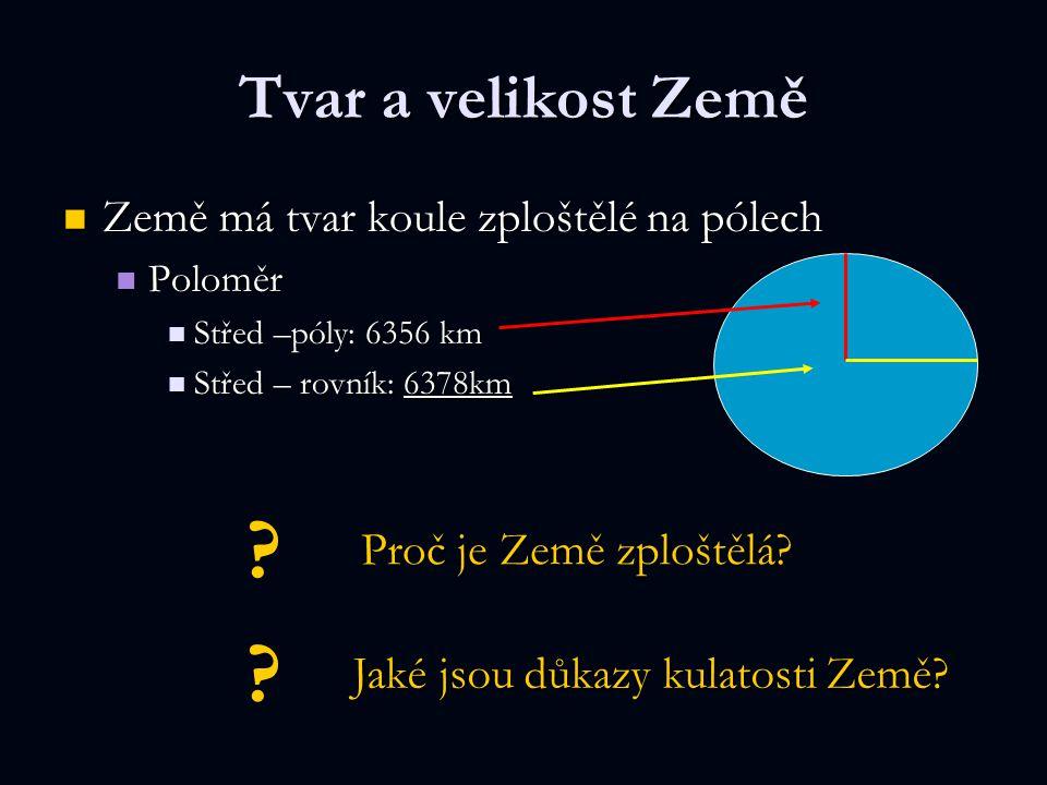 Tvar a velikost Země Země má tvar koule zploštělé na pólech Země má tvar koule zploštělé na pólech Poloměr Poloměr Střed –póly: 6356 km Střed –póly: 6
