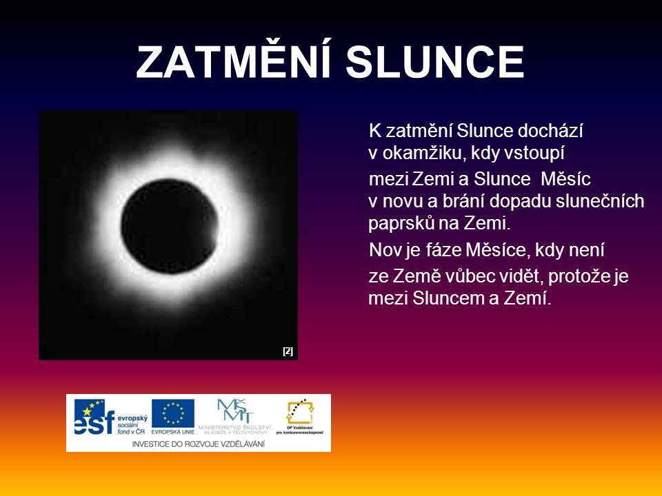 ZATMĚNÍ SLUNCE K zatmění Slunce dochází v okamžiku, kdy vstoupí mezi Zemi a Slunce Měsíc v novu a brání dopadu slunečních paprsků na Zemi.