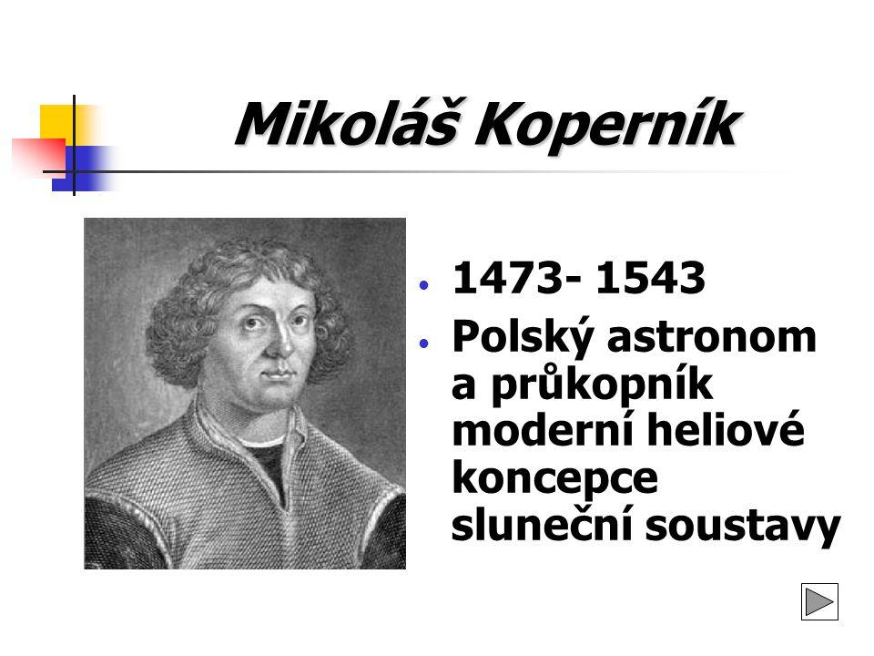 Mikoláš Koperník 1473- 1543 Polský astronom a průkopník moderní heliové koncepce sluneční soustavy