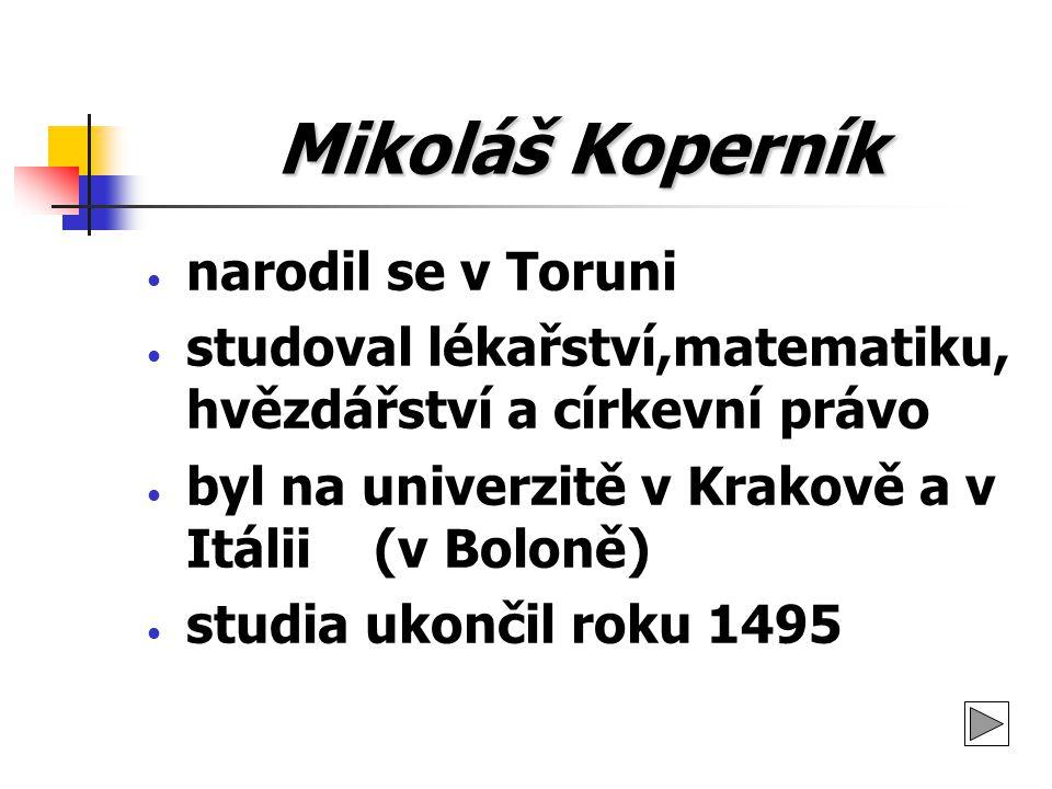 Mikoláš Koperník narodil se v Toruni studoval lékařství,matematiku, hvězdářství a církevní právo byl na univerzitě v Krakově a v Itálii (v Boloně) stu
