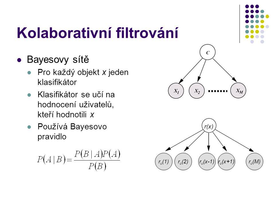 Kolaborativní filtrování Bayesovy sítě Pro každý objekt x jeden klasifikátor Klasifikátor se učí na hodnocení uživatelů, kteří hodnotili x Používá Bayesovo pravidlo r(x) r u (1)r u (2)r u (x-1)r u (x+1)r u (M)
