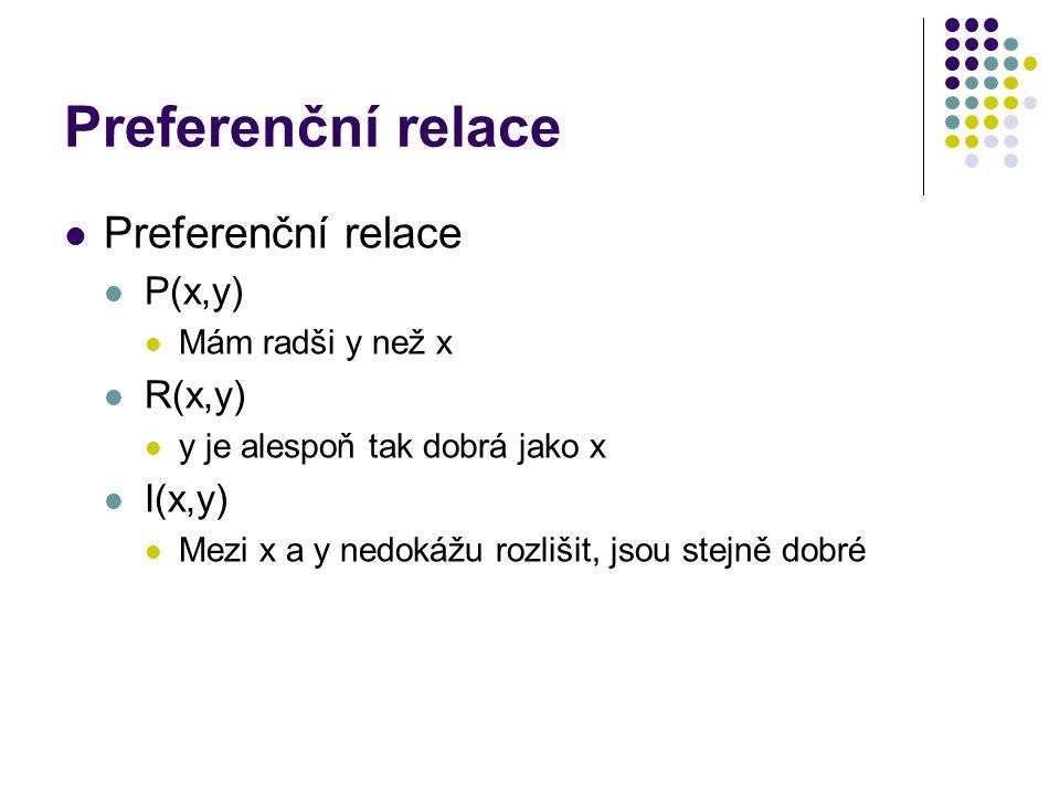Preferenční relace P(x,y) Mám radši y než x R(x,y) y je alespoň tak dobrá jako x I(x,y) Mezi x a y nedokážu rozlišit, jsou stejně dobré