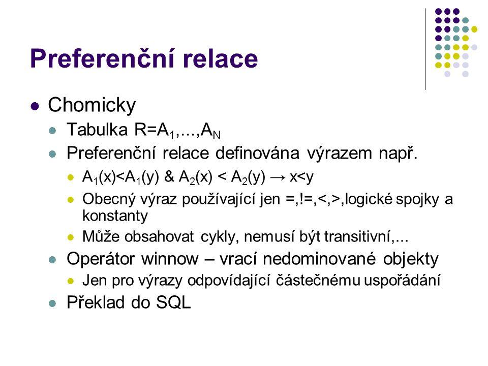 Preferenční relace Chomicky Tabulka R=A 1,...,A N Preferenční relace definována výrazem např.