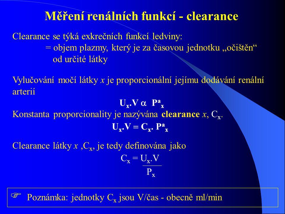 """Měření renálních funkcí - clearance Clearance se týká exkrečních funkcí ledviny: = objem plazmy, který je za časovou jednotku """"očištěn od určité látky Vylučování močí látky x je proporcionální jejímu dodávání renální arterií U x.V  P a x Konstanta proporcionality je nazývána clearance x, C x."""
