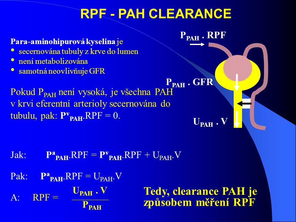 RPF - PAH CLEARANCE Para-aminohipurová kyselina je secernována tubuly z krve do lumen není metabolizována samotná neovlivňuje GFR Pokud P PAH není vysoká, je všechna PAH v krvi eferentní arterioly secernována do tubulu, pak: P v PAH.RPF = 0.