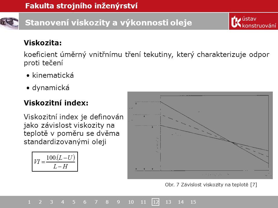 Fakulta strojního inženýrství 1 2 3 4 5 6 7 8 9 10 11 12 13 14 15 Stanovení viskozity a výkonnosti oleje Viskozita: koeficient úměrný vnitřnímu tření