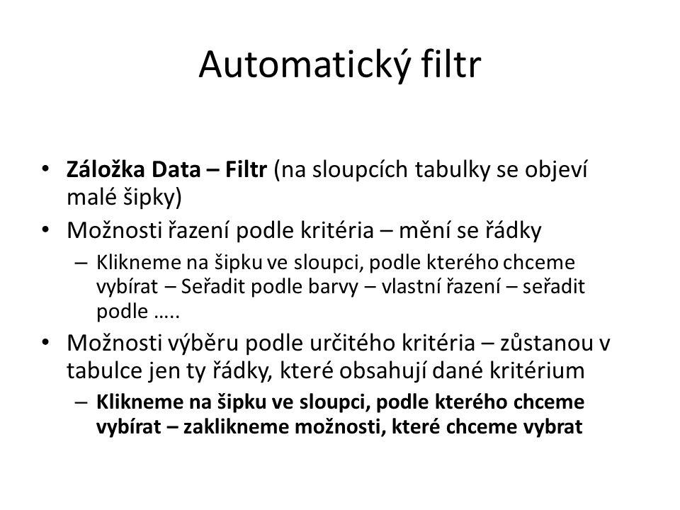 Automatický filtr Záložka Data – Filtr (na sloupcích tabulky se objeví malé šipky) Možnosti řazení podle kritéria – mění se řádky – Klikneme na šipku ve sloupci, podle kterého chceme vybírat – Seřadit podle barvy – vlastní řazení – seřadit podle …..