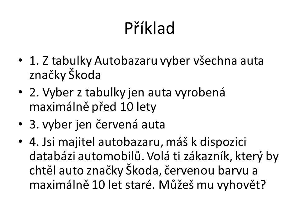 Příklad 1. Z tabulky Autobazaru vyber všechna auta značky Škoda 2.