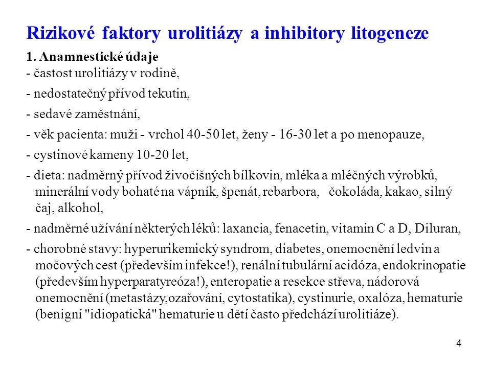 4 Rizikové faktory urolitiázy a inhibitory litogeneze 1.