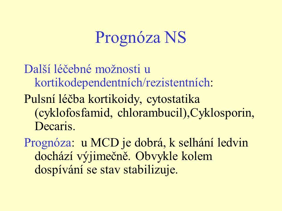 Prognóza NS Další léčebné možnosti u kortikodependentních/rezistentních: Pulsní léčba kortikoidy, cytostatika (cyklofosfamid, chlorambucil),Cyklosporin, Decaris.