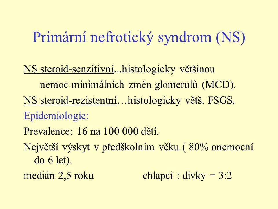 Primární nefrotický syndrom (NS) NS steroid-senzitivní...histologicky většinou nemoc minimálních změn glomerulů (MCD).