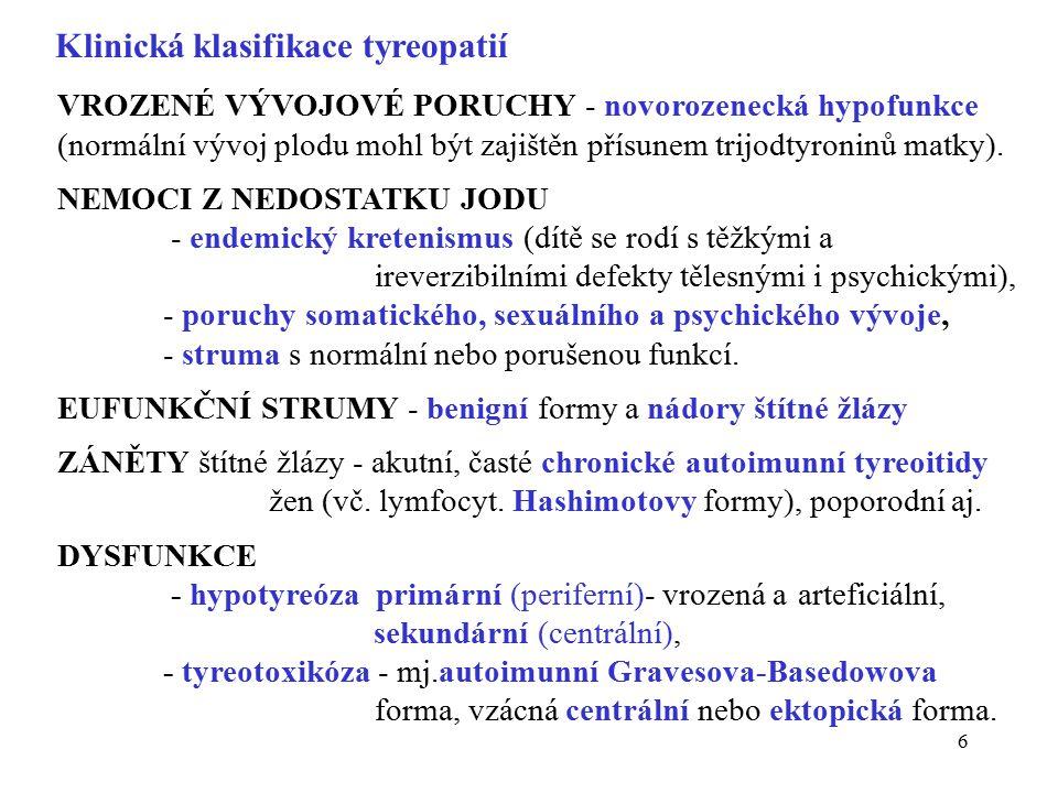 6 Klinická klasifikace tyreopatií VROZENÉ VÝVOJOVÉ PORUCHY - novorozenecká hypofunkce (normální vývoj plodu mohl být zajištěn přísunem trijodtyroninů matky).