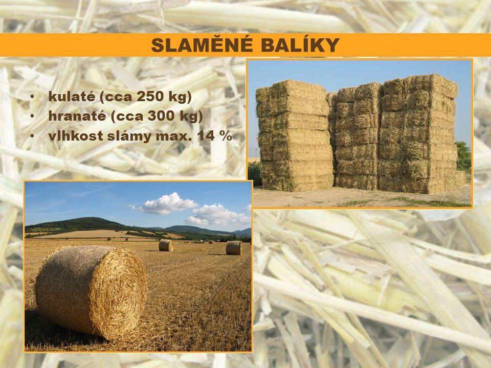 SLAMĚNÉ BALÍKY kulaté (cca 250 kg) hranaté (cca 300 kg) vlhkost slámy max. 14 %